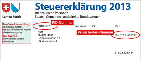 Muster-Steuererklärung mit markierter PID- und Versichertennummer